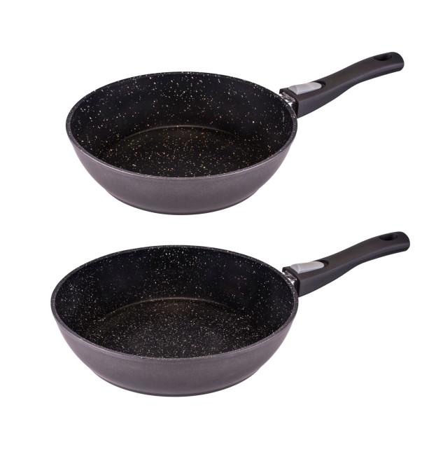 2er Set culinario Granit-Optik Bratpfanne Ø26 und 28 cm, abnehmbarer Griff, in verschiedenen Farben