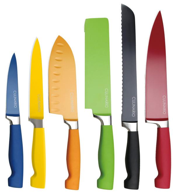 6er culinario Messerset mit Klingenschutz, 6 verschiedene Messer in verschiedenen Farben