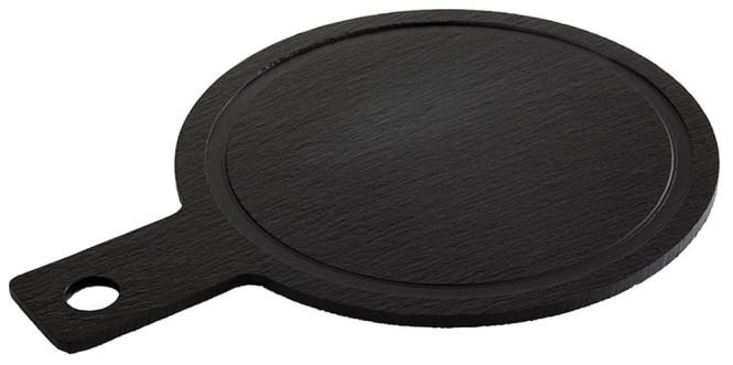 APS 2er Set Servier-Naturschieferplatte, Saftrinne, Ø 23 cm