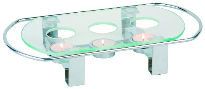 APS 3-flammiger Speisenwärmer aus Metall/Glas, 34 x 18 x 6 cm, verchromt und hitzebeständig