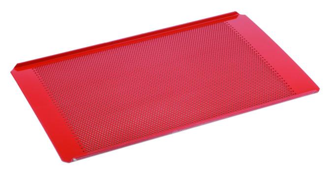 APS Backblech GN 1/1 53 x 32,5 cm, H: 1 cm Aluminium, Silikon beschichtet gelocht, Lochung 3 mm Materialstärke 1,5 mm hitzebeständig bis 240°C