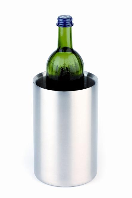 APS Flaschenkühler ca. Durchmesser 12 cm, Höhe 19 cm Edelstahl mattiert, doppelwandig, daher beste Isolationseigenschaften, einzeln im Geschenkkarton