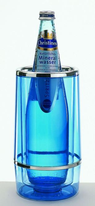 APS Flaschenkühler eisblau ca. Durchmesser 12cm(außen),Durchmesser 10cm(innen) Höhe 23 cm,transparentes Acryl doppelwandig, mit Chromrand