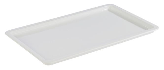 APS GN 1/1 Tablett aus Porzellan, 53 x 32,5 cm, Höhe 2,5 cm, Serviertablett, Servierplatte, weiß