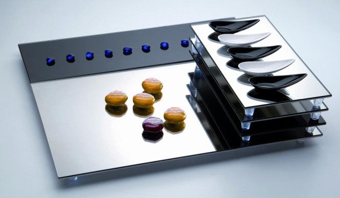 APS GN 1/3 Buffet-Spiegelplatte ca. 32,5 x 17,5 cm, H: 3 cm silber spiegelnde Glasplatte mit Antirutsch-Füßchen