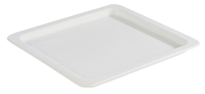 APS GN 2/3 Tablett aus Porzellan, 35,4 x 32,5 cm, Höhe 2,5 cm, Serviertablett, Servierplatte, weiß