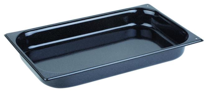 APS GN-Konvektomatenblech GN 1/1, 2 cm tief Stahl, beidseitig beschichtet mit scharzem Granit-Emaille in 2 Ecken gelocht