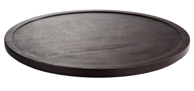 APS Tablett / Platte -ASIA PLUS- aus Holz, Ø 48,5 cm, Höhe 2,5 cm, dunkel, doppelt gefälzt, edle Optik, Servierplatte, Serviertablett, Brotzeitplatte