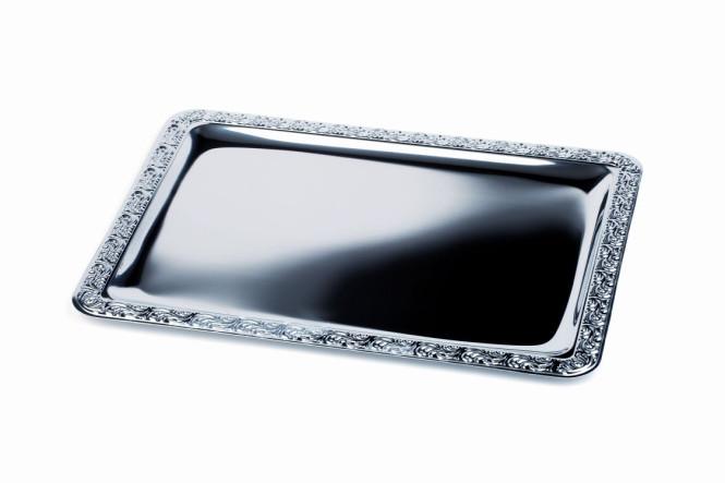 APS Tablett -Schöner Essen- GN 1/1 - 53 cm x 32,5 cm Edelstahl, mit Dekorrand einzeln im Beutel
