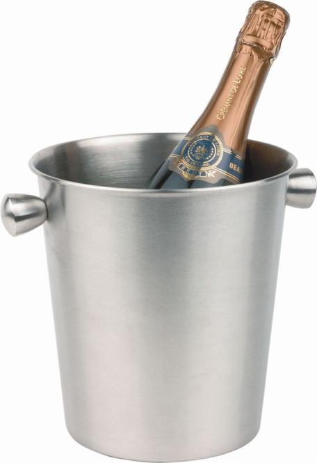 APS Wein-/Sektkühler ca. Durchmesser 20 cm, H: 20,5 cm Edelstahl innen und außen mattiert Hohlgriffe