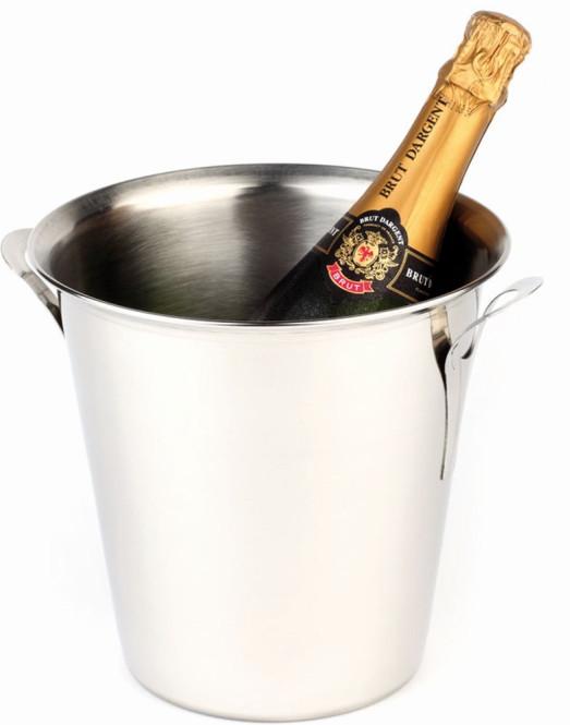 APS Wein-/Sektkühler ca. Durchmesser 21 cm, Höhe 21 cm Edelstahl, stapelbar massive Griffe,Rand eingerollt außen poliert, innen mattiert