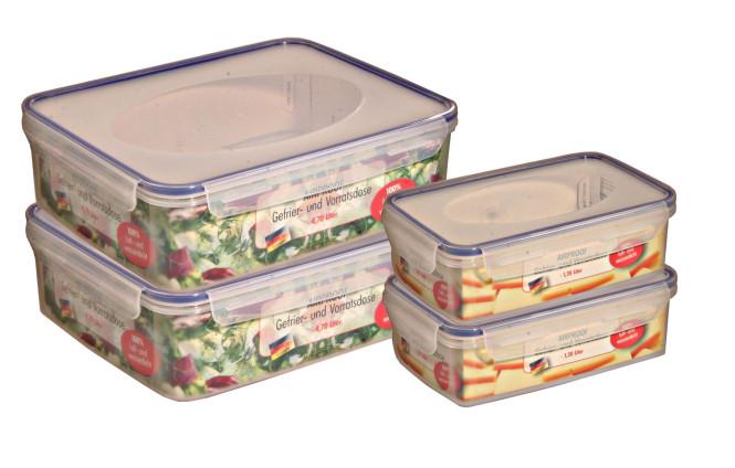AXENTIA 4er Set Vorratsdosen Airproof, Frischhalteboxen, transparent, eckig mit je 2 mal 1,2 Liter und 4 Liter, Set von Danto®