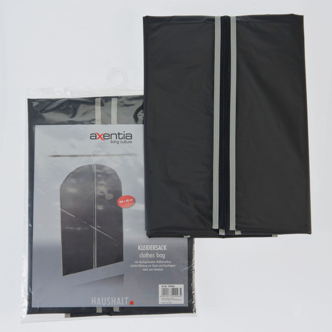 AXENTIA Kleidersack 150 x 60 cm schwarz/grau PEVA 40g/m²