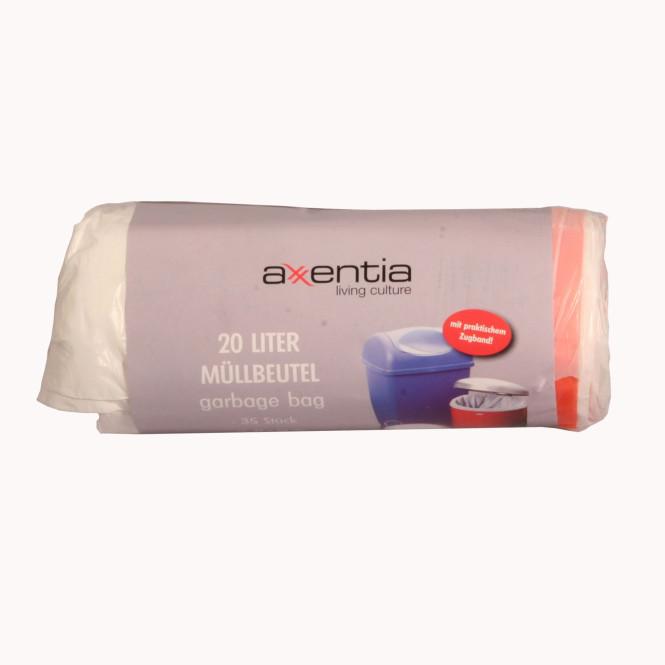 AXENTIA Müllbeutel, Abfalltüten, Müllsack mit Zugband 20 Liter 35 Stück weiß