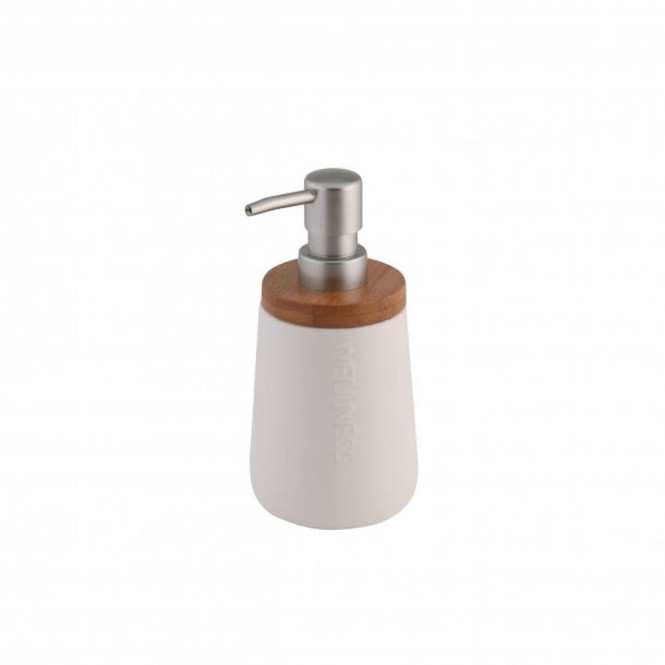 Axentia Seifenspender Bonja Wellness 450 ml weiß mit Bambusdeckel