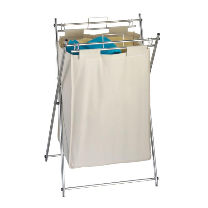 AXENTIA Wäschebehälter Gestell verchromt, herausnehmbarer Wäschesack 72 x 44 x 34 cm