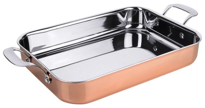 Contacto Bräter 35 x 25 x 6 cm, Kupfer aus Mehrschichtmaterial, 5200 ml, mit genieteten Griffen aus Edelstahl, nicht für Induktion