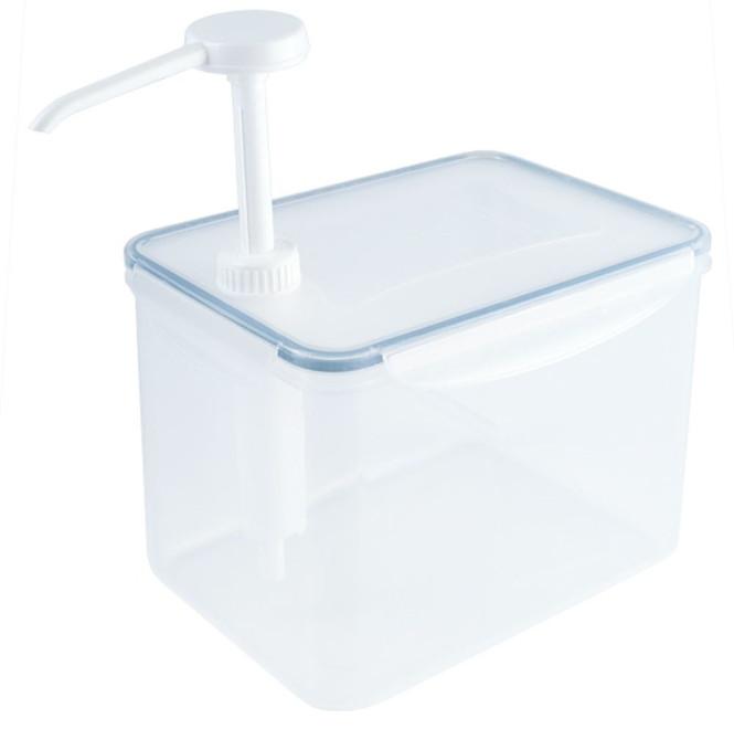 Contacto Dispenser Behälter m. Pumpe, 3900 ml, Portionsgröße 30 ml, 21 x 14,5 x H27 cm, zerlegbar, verschließbare Dosen, lebensmittelechtes Kunststoff