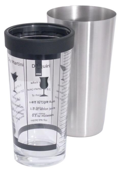 Contacto Edelstahl Boston-/Cocktail-Shaker 0,4 l Glas mit aufgedruckten Mixvorschlägen in englisch