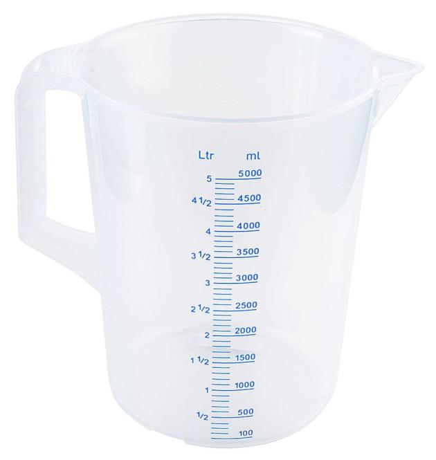 Contacto Messbecher mit Griff aus Polypropylen, 5 Liter, mit Skala 5000