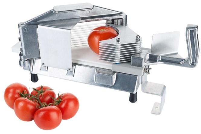 Contacto Tomatenschneider aus Aluminiumguss, 42 x 18 x H20 cm, Edelstahlklingen, Scheibendicke 4 mm, zerlegbar, Gastro-Qualität