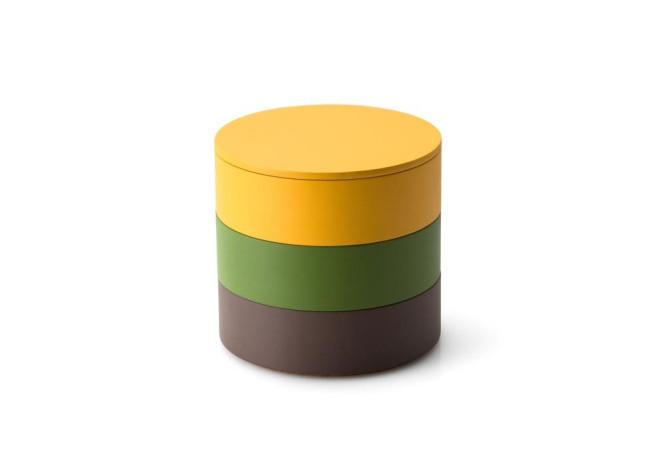 Continenta 3er Set, Aufbewahrungsdosen aus Holz, Ø 14 x 12,5 cm, in maisgelb/umbra/smaragdgrün, Deckel maisgelb, Dekoration und Schmuckkästchen