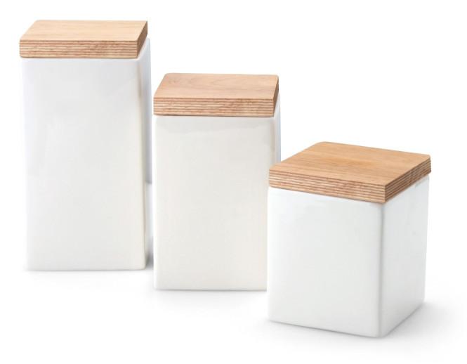 Continenta 3er Set Vorratsdosen aus Keramik, quadratisch, mit Holzdeckel, Profi Vorratsbehälter, 0,8 Liter, 1,0 Liter und 1,2 Liter, Set by Danto®