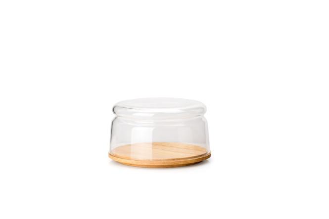Continenta Käseglocke/Schüssel, 2-tlg. aus Gummibaumholz und mundgeblasenem Glas, Ø 16 x 9 cm