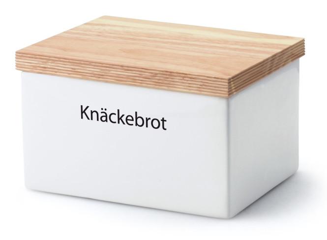 Continenta Knäckebrotdose mit Holzdeckel, 17 x 13 x 11 cm