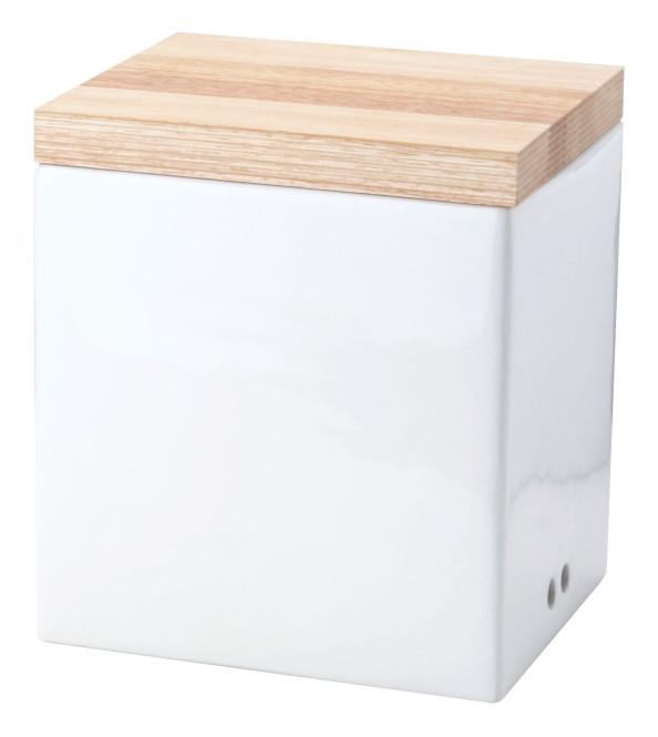Continenta Zwiebel Vorratsdose aus Keramik mit Holzdeckel, Zwiebeltopf, Zwiebeldose mit Aufschrift: Zwiebeln, Größe: 18 x 15,5 x 20,5 cm