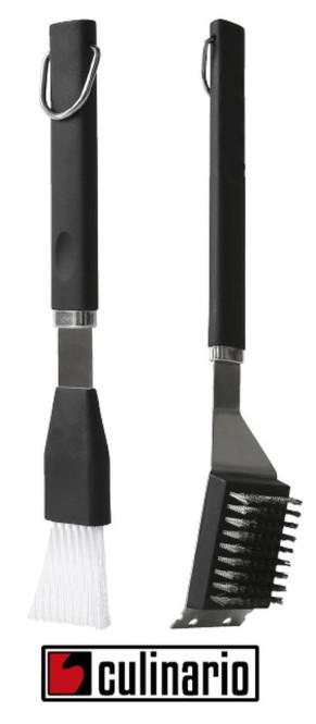 culinario 2er Grillbesteck mit 3 Funktionen: Grillbürste, Reinigungsschaber und Grillpinsel