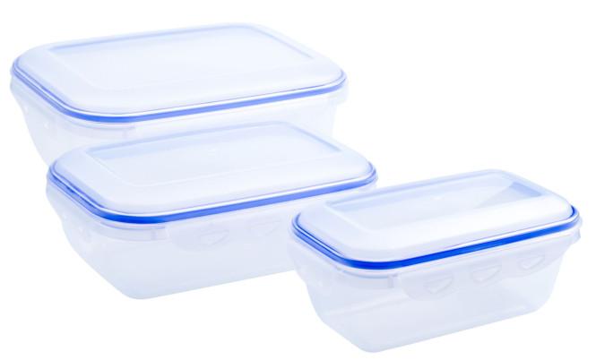 culinario 3er Set Frischhaltedosen 800 ml, 1,3 und 2,5 Liter, ineinander stapelbar, transparent Rechteckig