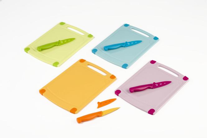 culinario 3er-Set, Schneidebrett 29 x 20 cm, Schälmesser 19 cm und Klingenschutzhülle, in verschiedenen Farben