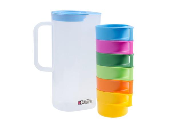 culinario 7tlg. Becherset, 1,5 Liter Karaffe mit 6 bunten Tassen, ineinander stapelbar