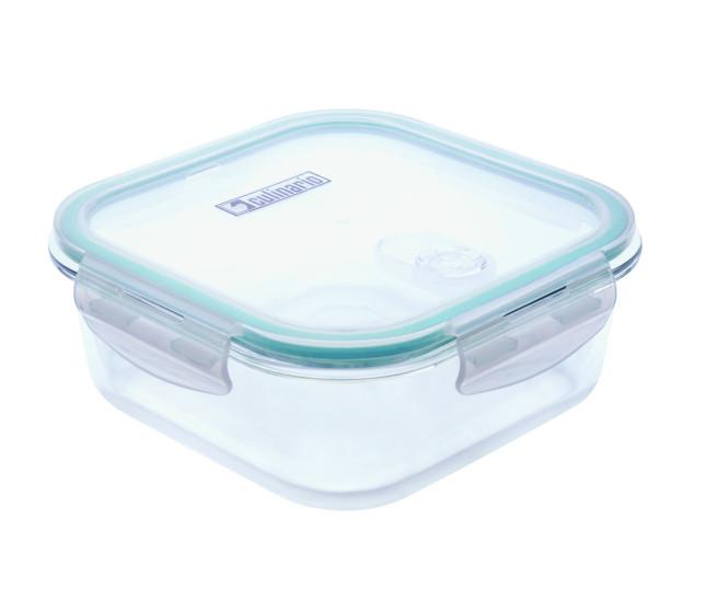 culinario Cloc Frischhaltedosen aus Borosilikatglas, verschiedene Größen, quadratisch, Mikrowellendeckel, bis 400°C hitzebeständig