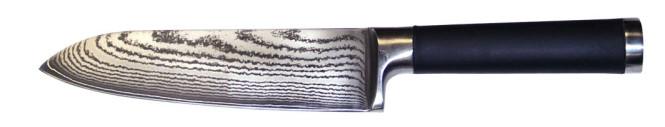 culinario Damastmesser, Damaszener Santokumesser mit Soft-Touch-Griff, 29,0 cm, Klingenlänge 17,0 cm