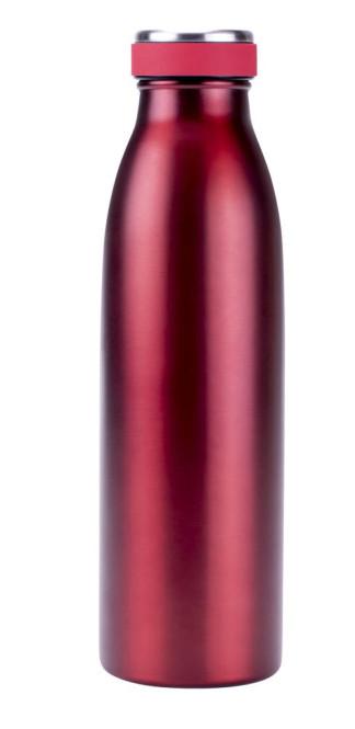 Steuber Edelstahl Thermoflasche mit auslaufsicherem Schraubverschluss, 500 ml, rot metallic-rot | 500