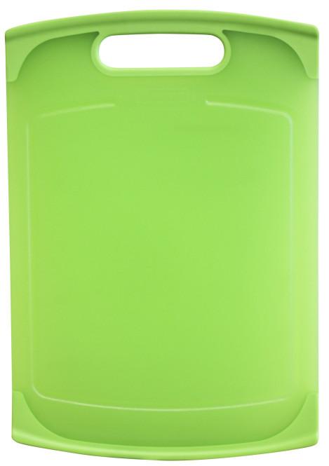 culinario Schneidebrett aus Kunststoff, 36 x 25 cm, mit antirutsch Silikonrand, Messer-schonend, spülmaschinenfest, beidseitig verwendbar, in grün