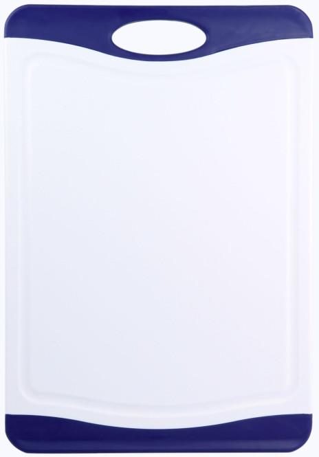 culinario Schneidebrett Lido blau mit Saftrinne, 44 x 30 cm, beidseitig verwendbar 44,5 x 30,5 cm | Weiß-blau