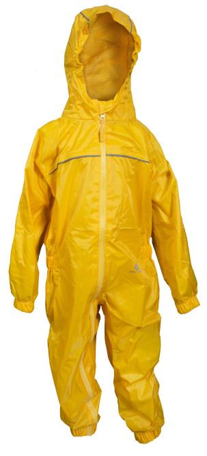 DryKids Wasserdichter Regenanzug für Kinder von 9 bis 10 Jahren, verschweiße Nähte, reflektierende Regenkleidung, gelb