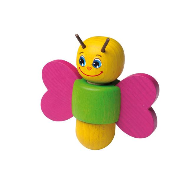 Erzi Schraubenspiel Schmetterling, 3 tlg. Schraubenspiel aus Buchenholz, Maße 4,5 x 10 x 10 cm, ab 1 Jahr