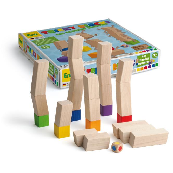 Erzi Spiel Tricky Blocks, wackeliges Stapelspiel aus Buchenholz, für 2-6 Spieler, ab 3 Jahren
