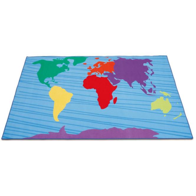 Erzi Teppich Kontinente, Spielteppich Weltkarte, Spielmatte Erde, Maße 300 x 200 cm