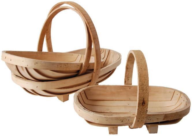 Esschert Design 3er-Set Sussex Trug, Tragekorb, Gartenkorb, 3er-Korbset, 35 cm, 41,4 cm und 47,4 cm lang