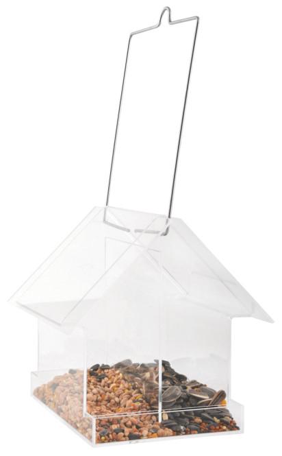 Esschert Design Acryl Vogelhäuschen aus PMMA und Metall, 15,5 x 15,0 x 14,8 cm