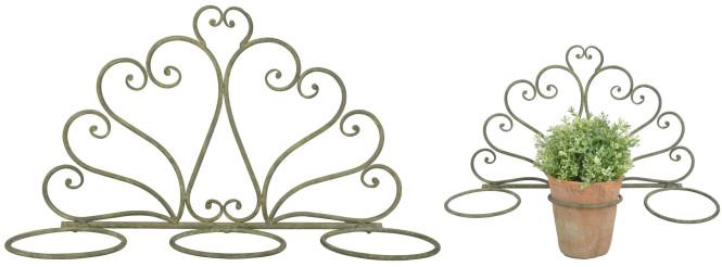 Esschert Design Aged Metal Grün 3er Topfhalter aus veraltetem Metall, 47,0 x 14,7 x 37,0 cm