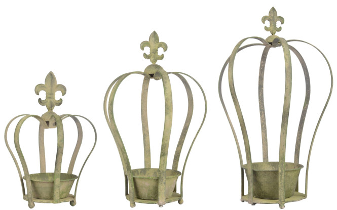 Esschert Design Aged Metal Grün 3er Topfset Krone aus veraltetem Metall, 15,6 x 17,3 x 24,7 cm