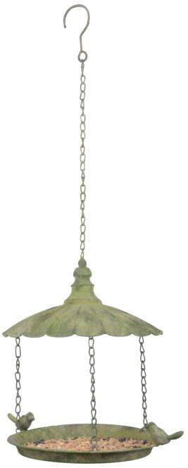 Esschert Design Aged Metal Grün Hängevogelstation aus veraltetem Metall, 25,5 x 25,5 x 34,0 cm