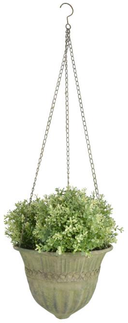 Esschert Design Aged Metal Grün Hanging Basket L aus veraltetem Metall, 30,0 x 30,0 x 18,7 cm