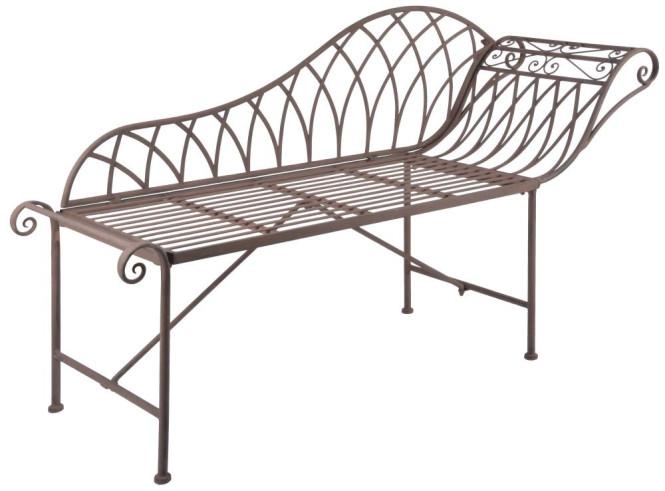 Esschert Design Chaise longue aus Metall, 156 x 50 x 86 cm, Liege und Sitzbank, in klassischer Optik, sehr stabil